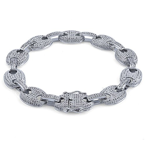 Hip Hop 12mm 7'',8'' 14K Gold Plated Iced Out CZ Marine Link Bling Bracelet for Men (7