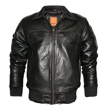 Mens Black Polished Real Leather Bomber Jacket