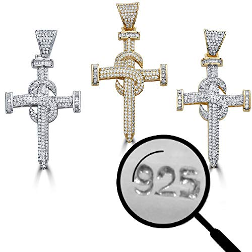 Harlembling Solid 925 Sterling Silver Iced Out Nail Cross Pendant - Men's - Great for Any Chain! ICY Baguette CZ (14k Gold)