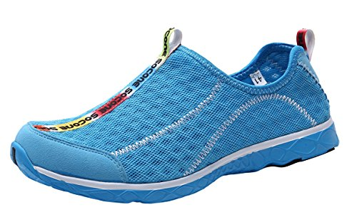 Mens Water Blue Mesh Aqua UJoowalk Sky Shoes On Slip Womens q7Ow5a5p1