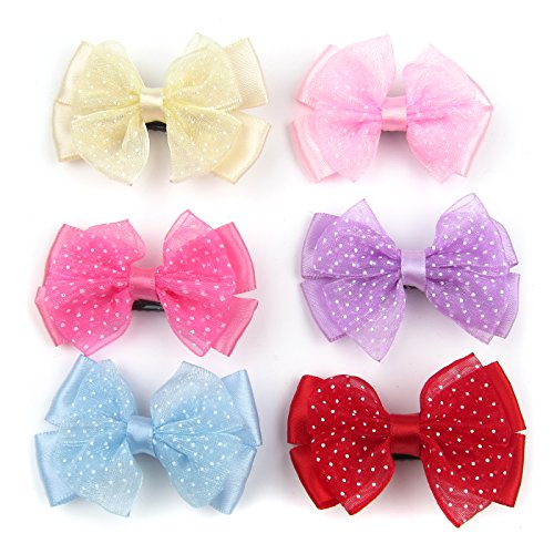 (Alfie Pet by Petoga Couture - Amber Bow Hair Clip 6-Piece Set for Dogs, Cats and Small Animals)