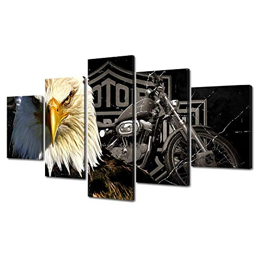 Meigan Art-Modern American Eagle Motorcycle Canvas Art Print for Wall Decoration, Set of 5 Panels, Ready to Hang (8x20 InchX1 8x16 Inch x 2, 8x12 Inch x 2.) - Harley Motorcycle Art