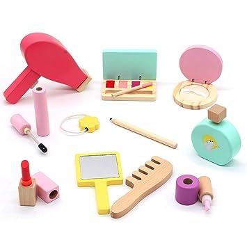 Symiu Maquillaje De Madera Cosméticos Herramientas Kit Con 16 Piezas De Belleza Maquillaje Niña Set Juego De Imaginación Juguetes Para Regalos Para