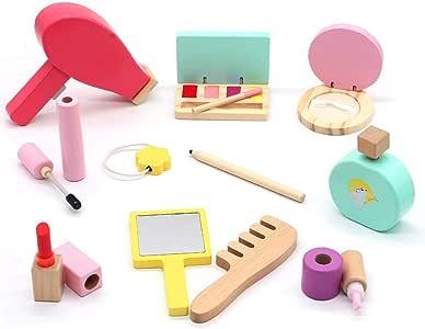 Symiu Maquillaje de Madera Cosméticos Herramientas Kit con 16 Piezas de Belleza Maquillaje Niña Set Juego de Imaginación Juguetes para Regalos para Niños 3 4 5 Años: Amazon.es: Juguetes y juegos