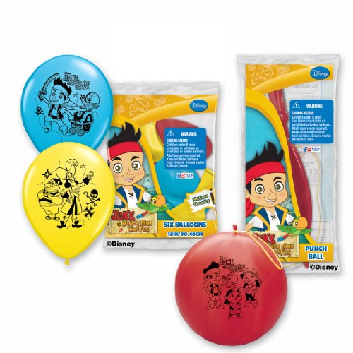 Pioneer National Latex Jake and The Never Land Pirates Balloon Party Pack (6 Balloons/4 Punch Balls), Assorted