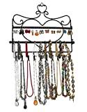 ARAD Metal Wall Mount Heart Shaped Jewelry Display Rack For Necklaces, Earrings, Bracelets, Black