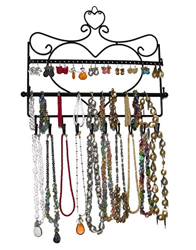 - ARAD Metal Wall Mount Heart Shaped Jewelry Display Rack-Necklaces, Earrings, Bracelets-Black