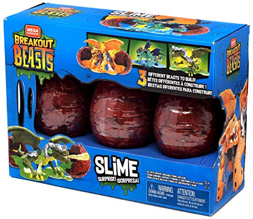 Mega Construx Breakout Beasts Slime - 3 Different Beasts - Blue Set #1250936