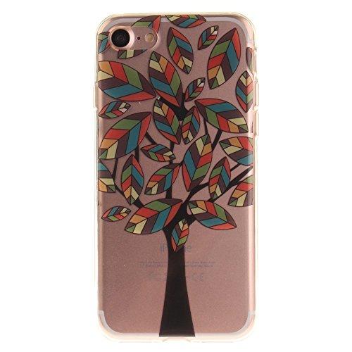 Patterned Clear IMD Soft TPU Tasche Hüllen Schutzhülle Case für iPhone 7 4.7 - Colored Cartoon Tree