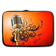 Cheap And Nice 17 Inch Laptop Sleeve Microphone Theme Art Pictorial (Double-sided,No Straps)