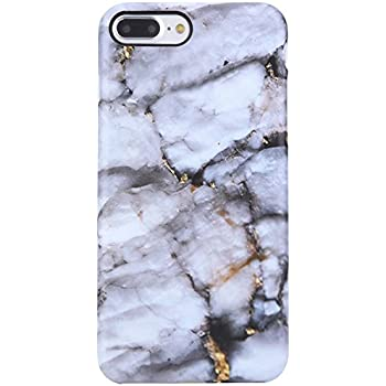 iPhone 7 Plus Case white and gold marble,iPhone 8 Plus Case,VIVIBIN Shock Absorption Matte TPU Soft Rubber Silicone Cover Phone Case for iPhone 7 Plus/ 8 Plus 5.5inch