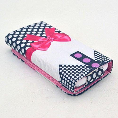 Uming® Retro patrón de colores de impresión de la PU del Caja Caso Case Cover [ para Nokia Lumia 830 ] Colorful Pattern Stand Holder Holster el modelo colorido pistolera del tirón con el sostenedor de Red Ribbon
