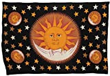 Cultural Intrigue Luna Bazaar Sun and Moon Bohemian Tapestry, Wall Hanging, and Bedspread (Horizontal, 4.5 x 7 Feet, Black, Yellow and Red, 100% Cotton, Fair Trade Certified)