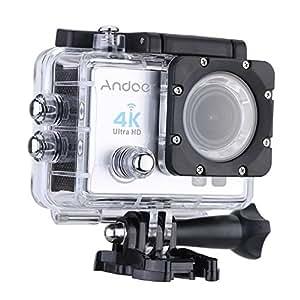 Andoer 4 K 1080P Wifi Cam 16MP Cámara 5,08 cm ULTRA-HD LCD 170°Wide Angular w/buceo 30 m Funda Impermeable, Pantalla de 2.0 inches,Color Plata