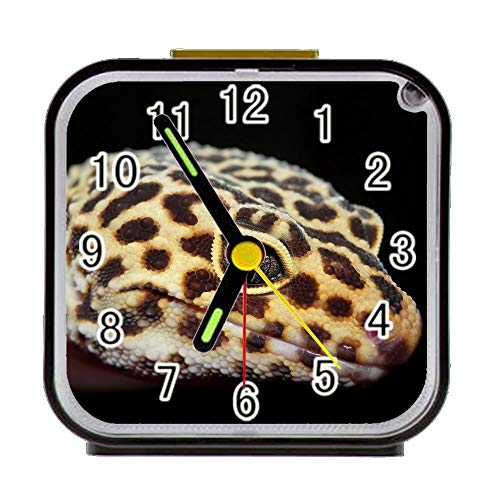 - COL DOM Alarm Clock Reptile Gecko Lizard Eyed Alarm Clock for Children Custom Square Black Alarm Clock 3.27