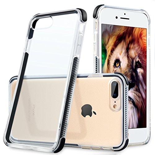 iPhone 7 Plus Case, iPhone 8 Plus Protective Slim Cover TPU & TPE iPhone Clear Case Cover Anti-Scratch Anti-Shock Case for Apple iPhone 7 Plus/iPhone 8 Plus(Black)