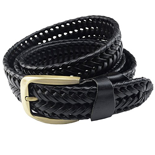 (T-PERFECT LIFE Men's Trendy Retro Leather Braided Belt with Bronze Buckle (41 inch, black))