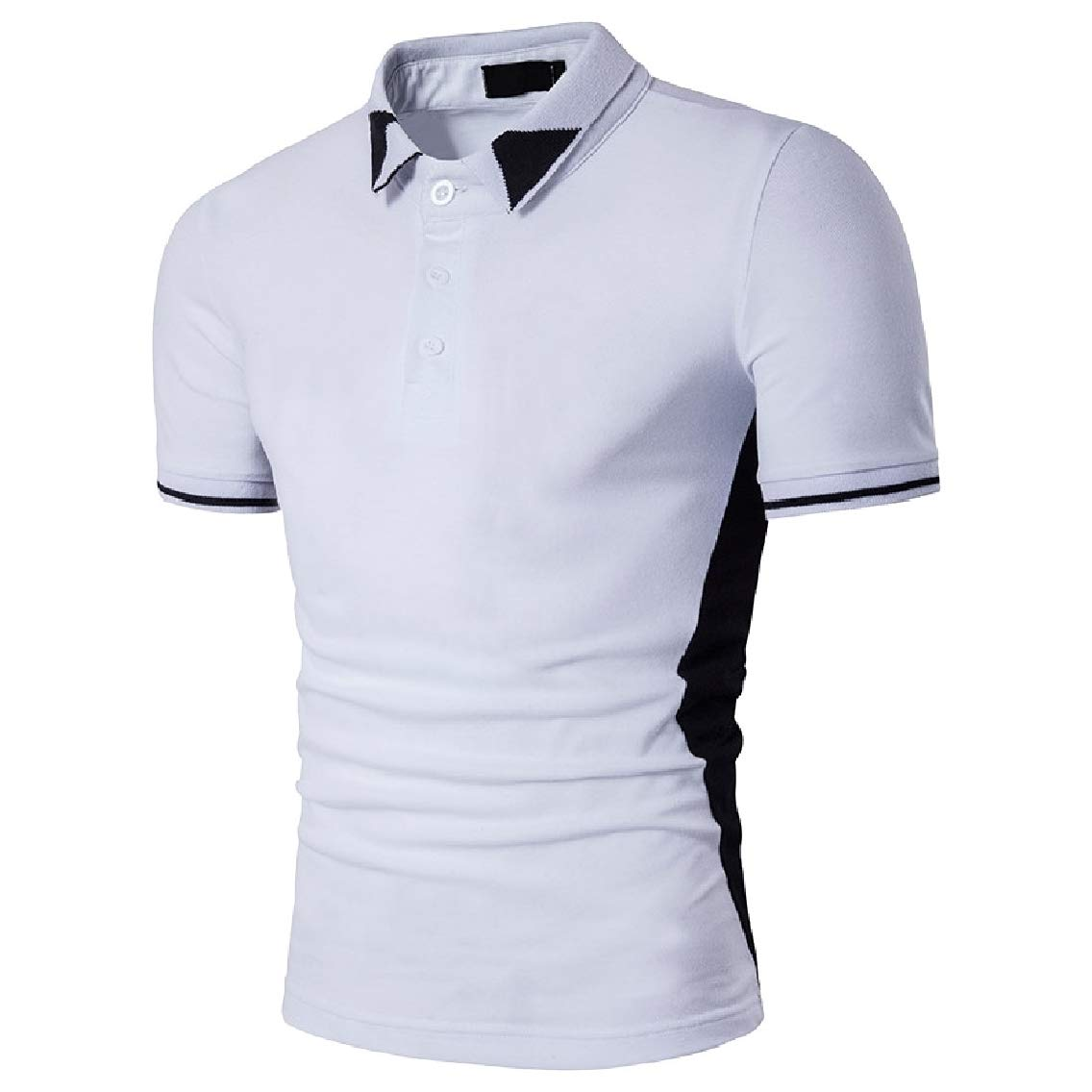 Coolred-Men Fashion Hit Color Short-Sleeve Polo Casual Cozy Tunic Shirt