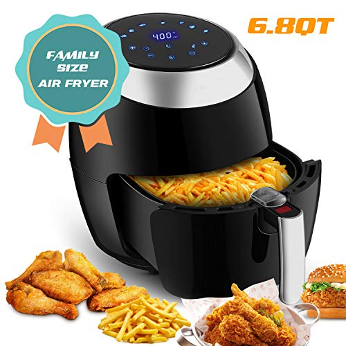 Air Fryer XL with Rapid Air Circulation System, 6.8 QT Extra Large Capacity Digital Air Fryer, Temperature up to 400°F, Low Fat Healthy Air Fryer, Black, 1800W (LED Display)