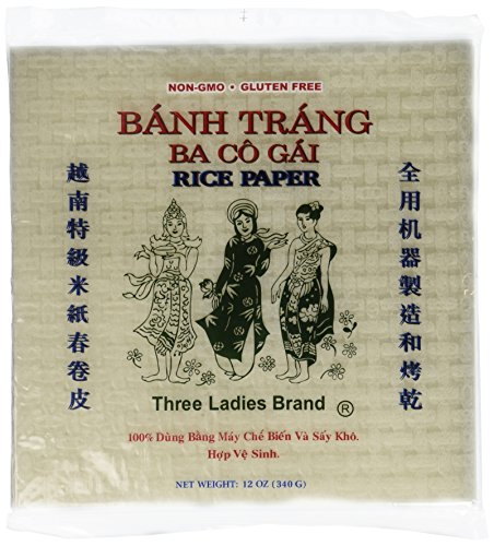 (4 Packs Three Ladies Spring Roll Rice Paper Wrappers (Square 22cm))