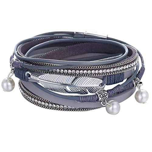 - Gleamfut Fashion Multi-Layer Leather Wrap Bracelet Personality Creative New Handmade Braided Multiple Styles Bracelet