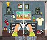 Lunarable Gamer Curtains, Gaming Guy in His Flat with Diplomas Loud Speakers Boxing Gloves Jump Rope and Trophy, Living Room Bedroom Window Drapes 2 Panel Set, 108 W X 63 L Inches, Multicolor