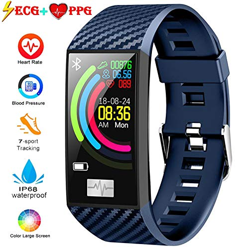 Lesgos ECG PPG Fitness Tracker, IP68 Waterproof Activity Tracker Watch [Support Swimming] with Heart Rate Blood Pressure Monitor, 1.14Inch Color Screen Sports Bracelet for Android and iOS