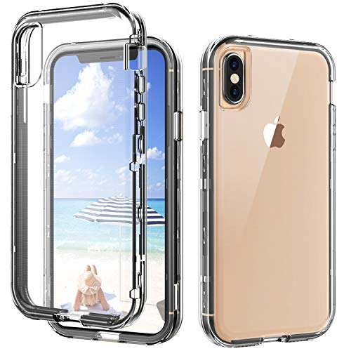 SKYLMW iPhone Xs Max Case,Shockproof Three Layer Protection Hard Plastic & Soft TPU Sturdy Shockproof Armor High Impact Resistant Cover Case for iPhone 6.5 inch 2018,Clear