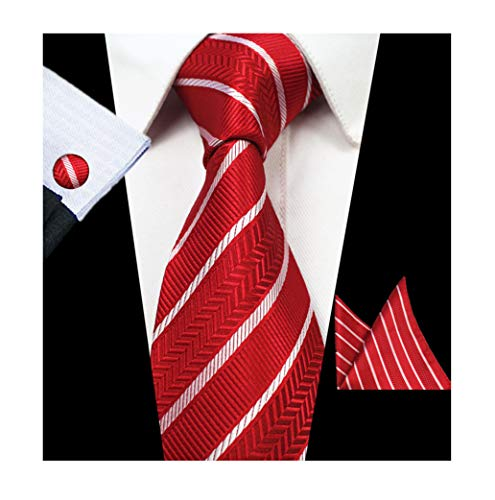Men's Hot Red White Stripe Silk Ties Set Fitness Dress Unique Fashion Neckties