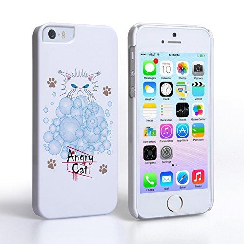 Caseflex iPhone 5 / 5S Hülle Weiß Wütend Katze Blasen Hart Schutzhülle