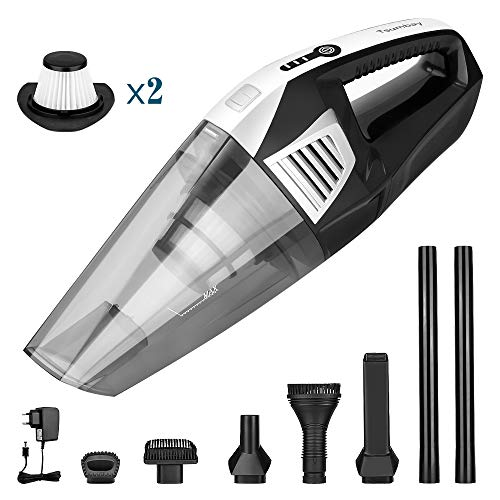 Tsumbay Handheld Vacuum 7000PA Strong Suction Cordless Car Vacuum Cleaner 2200mAh Lithium Rechargeable Powerful Cyclonic Quick Charge Tech, Wet Dry Lightweight 78dB Low Noise for Home&Car(2 Filter)