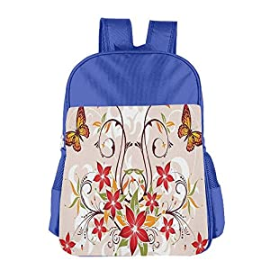 Mokjeiij Butterflies And Flourishing Swirled Blossoms Bouquet Botany Artsy Image Unisex Girls Boys School Backpack Children's