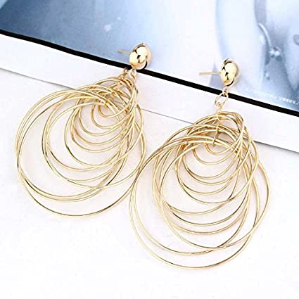 Kercisbeauty Unique Overstate Gold Silver Concentric Circles Earrings Studs Dangles for Women and Girls, Bar, Party, Perfect Gift for Her, Birthday, Anniversary Gift, Daily, Party Accessories (Gold)