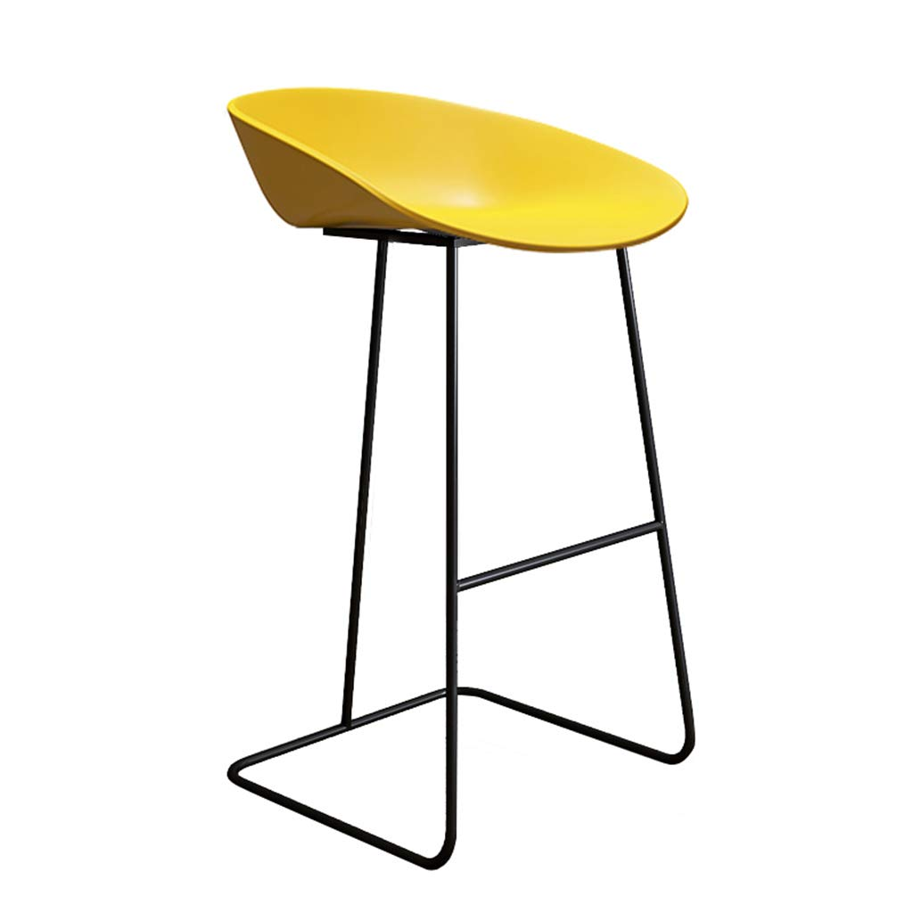 Yellow-black 75cm DingHome-ca Barstool - Wrought Iron Simple Fashion Breakfast High Chair Creative Bar Stool gold Kitchen Bar Counter