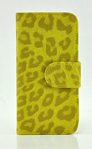 LiViTech(TM) Leopard Design PU Leather Wallet ID Holder Case Cover Stand for Apple iPhone 5 (8899) (Yellow)
