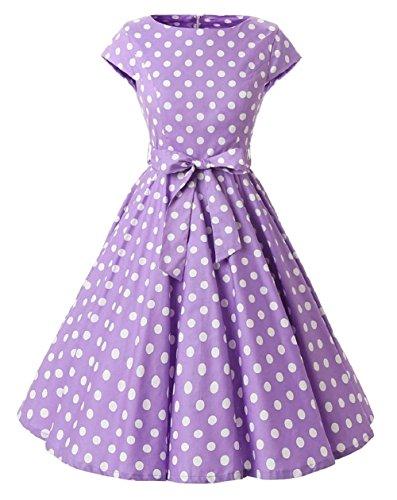 Style Violet Pois Hepburn Rockabilly VKStarRobe Audrey Ceinture Robe Blanc Swing de 1950s Cocktail Soire avec Robe Vintage Pois ZqZwYEA