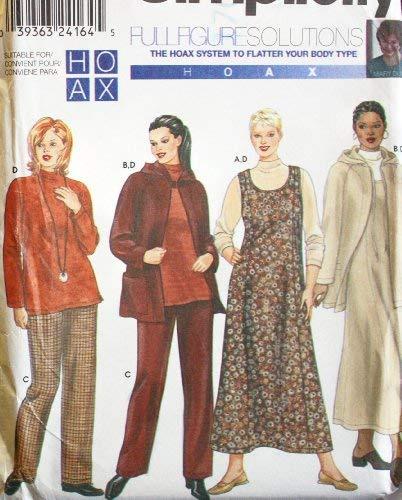 Dress Jumper Hood - OOP Simplicity Pattern 9320. Womens Plus Szs 26W;28W;30W;32W Jumper/dress; Jacket with Hood; Pants & Knit Top
