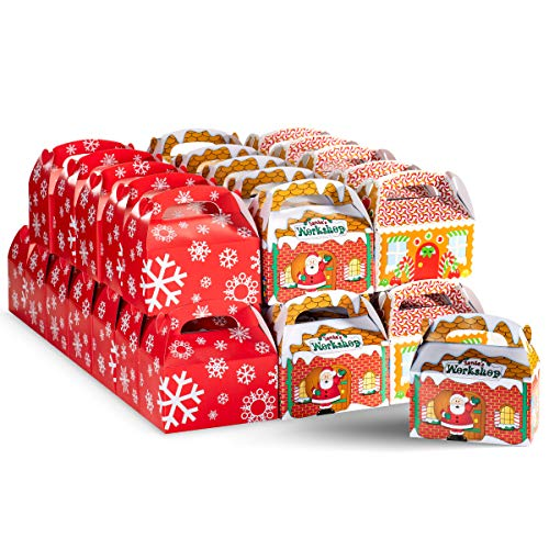Christmas Gift Treat Boxes Bulk Pack of 36 Small Holiday Gifts Boxes 12 of Each, Gingerbread House, Santa's Workshop, Snowflakes Red and White, By 4E's Novelty