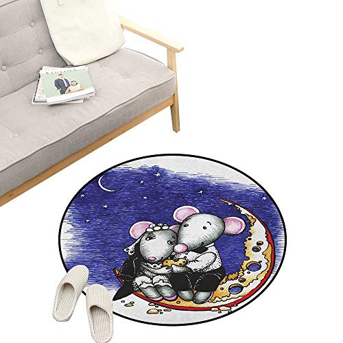 Animal Custom Round Carpet ,Mouse Couple Sitting on The Cheese Flavoured Moon Bride and Groom Love Valentines Art, The Custom Round Non-Slip Doormat 39
