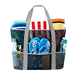 SoHo Collection, Mesh Beach Bag – Toy Tote Bag – Large Lightweight Market, Grocery & Picnic Tote with Oversized Pockets (Black and Gray)