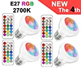 E27 LED RGBW Spot Light with remote control | led downlight | Warm white (2700 Kelvin) | MR16 E27 Colour Changing Bulb|3W Replacement for 20W Halogen Spot| Dimmable Bulb with RGB | Ambience Party Decoration (4 Pack E27 RGB+2700K)
