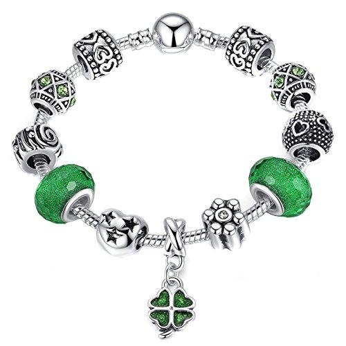 4 Leaf Clover Bracelet - Presentski Charm Bracelet Mother's Day Gift Silver Plated with Four Leaf Clover for Christmas Day