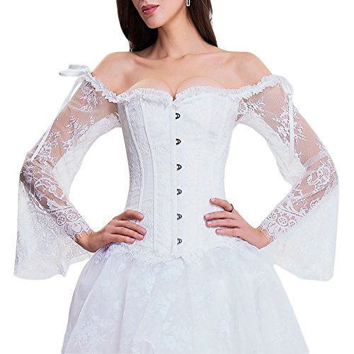 TOPMELON Fairily Renaissance Vintage Retro Steampunk Corset Bustier Lace up Boned Overbust Top White