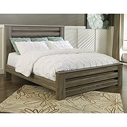Amazon.com: Ashley Zelen Wood King Rail Panel Bed in Brown: Kitchen ...