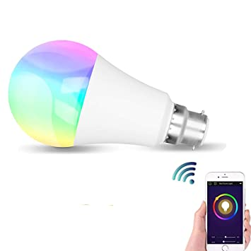 Bombilla LED inteligente, Wi-Fi B22 Bombillas de cambio de color RGBW Dimmable,