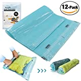 StoragePro 12-Pack Travel Space Saver Bags Roll Up Manual Rolling Compression No Vacuum Needed Shrink Bags for Luggage Packing & Home Closets