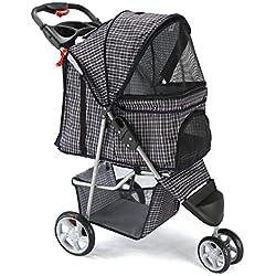 Paws & Pals 3 Wheeler Elite Jogger Pet Stroller Cat/Dog Easy Walk Folding Travel Carrier, Plaid Blue
