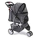 Paws & Pals 3 Wheeler Elite Jogger Pet Stroller Cat/Dog Easy Walk Folding Travel Carrier, Plaid Blue