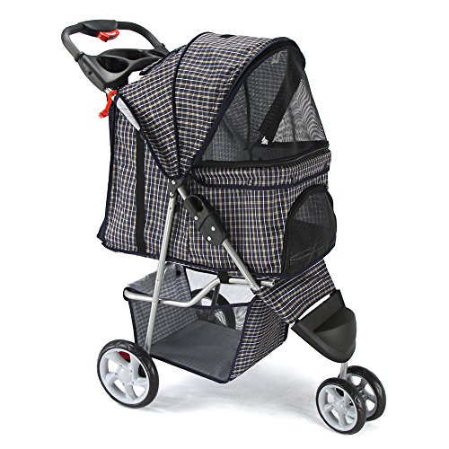 OxGord 3 Wheeler Elite Jogger Pet Stroller Cat/Dog Easy Walk Folding Travel Carrier, Plaid Blue
