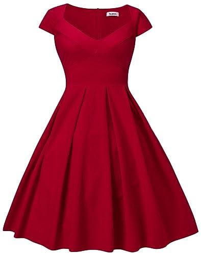 Dilanni Women's Retro Deep-V Neck Half Sleeve Vintage Cocktail Swing Dress Party Dress